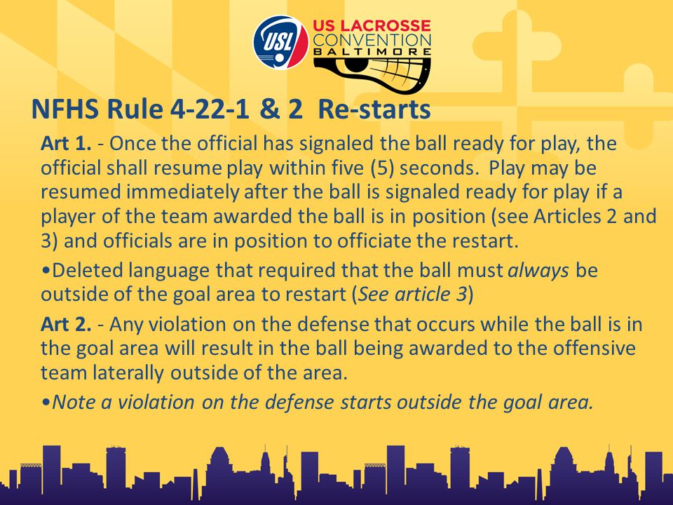 NFHS Rule 4-22-1 & 2 Re-starts Art 1.