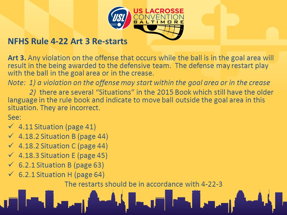 NFHS Rule 4-22 Art 3 Re-starts Art 3.