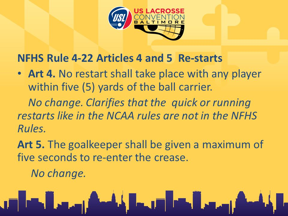 NFHS Rule 4-22 Articles 4 and 5 Re-starts Art 4.