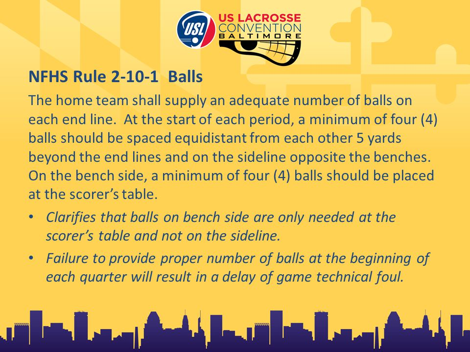 NFHS Rule 3-1-2 Running clock After the first half, any time the score differential reaches 12 goals or more, starting with the whistle resuming play, the clock will only be stopped for a team time out, official's timeout or an injury timeout.