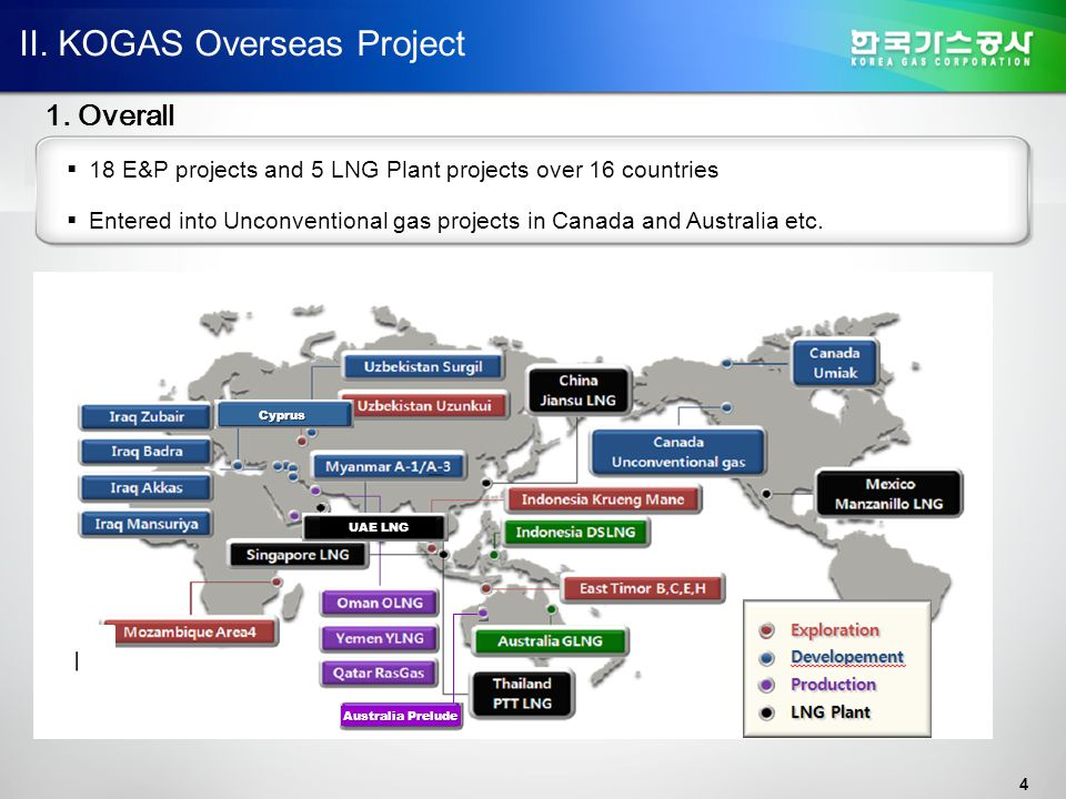 4 II. KOGAS Overseas Project 1. Overall  18 E&P projects and 5 LNG Plant projects over 16 countries  Entered into Unconventional gas projects in Can