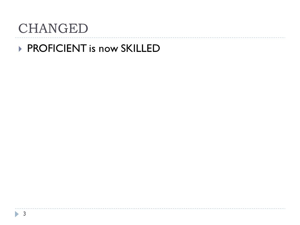 CHANGED 3  PROFICIENT is now SKILLED