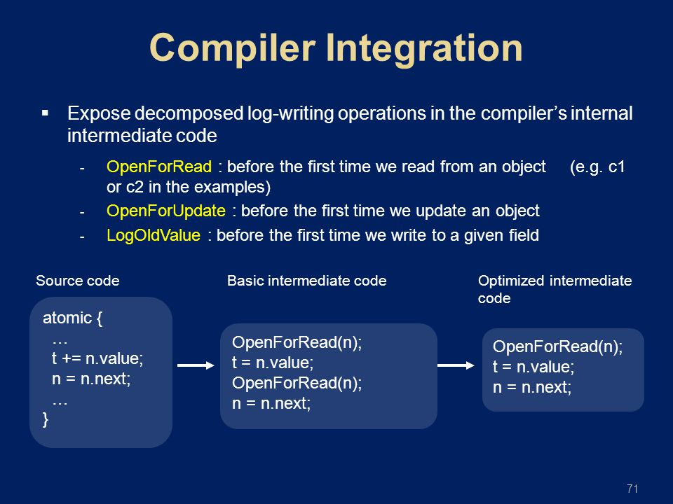 71  Expose decomposed log-writing operations in the compiler's internal intermediate code  OpenForRead : before the first time we read from an objec