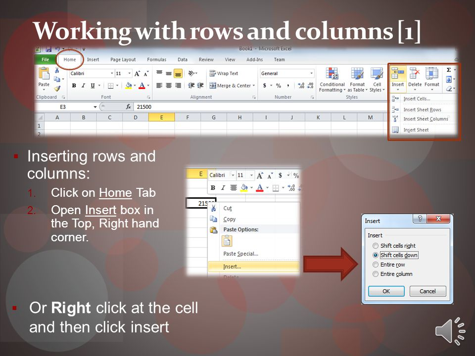 Working with rows and columns [1]  Inserting rows and columns: 1.