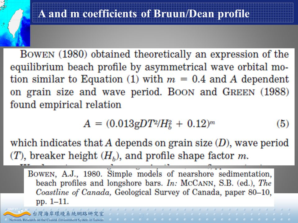 13 A and m coefficients of Bruun/Dean profile