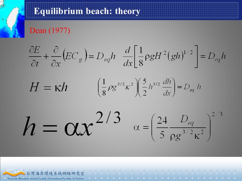 6 Equilibrium beach: theory Dean (1977)