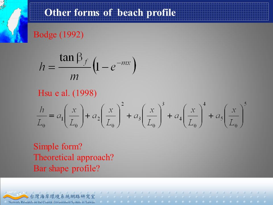 8 Other forms of beach profile Bodge (1992) Hsu e al.