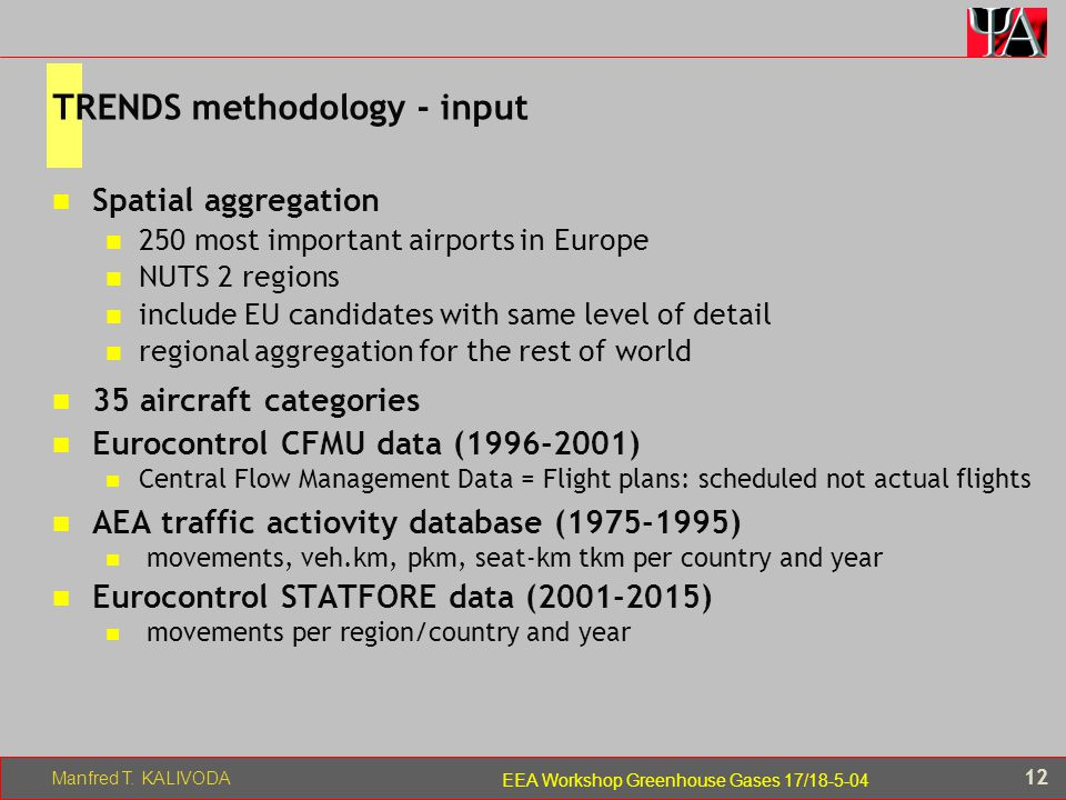 Manfred T. KALIVODA 12 EEA Workshop Greenhouse Gases 17/18-5-04 TRENDS methodology - input Spatial aggregation 250 most important airports in Europe N