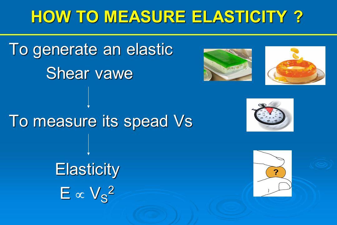 HOW TO MEASURE ELASTICITY ? To generate an elastic Shear vawe Shear vawe To measure its spead Vs Elasticity Elasticity E V S 2 E  V S 2