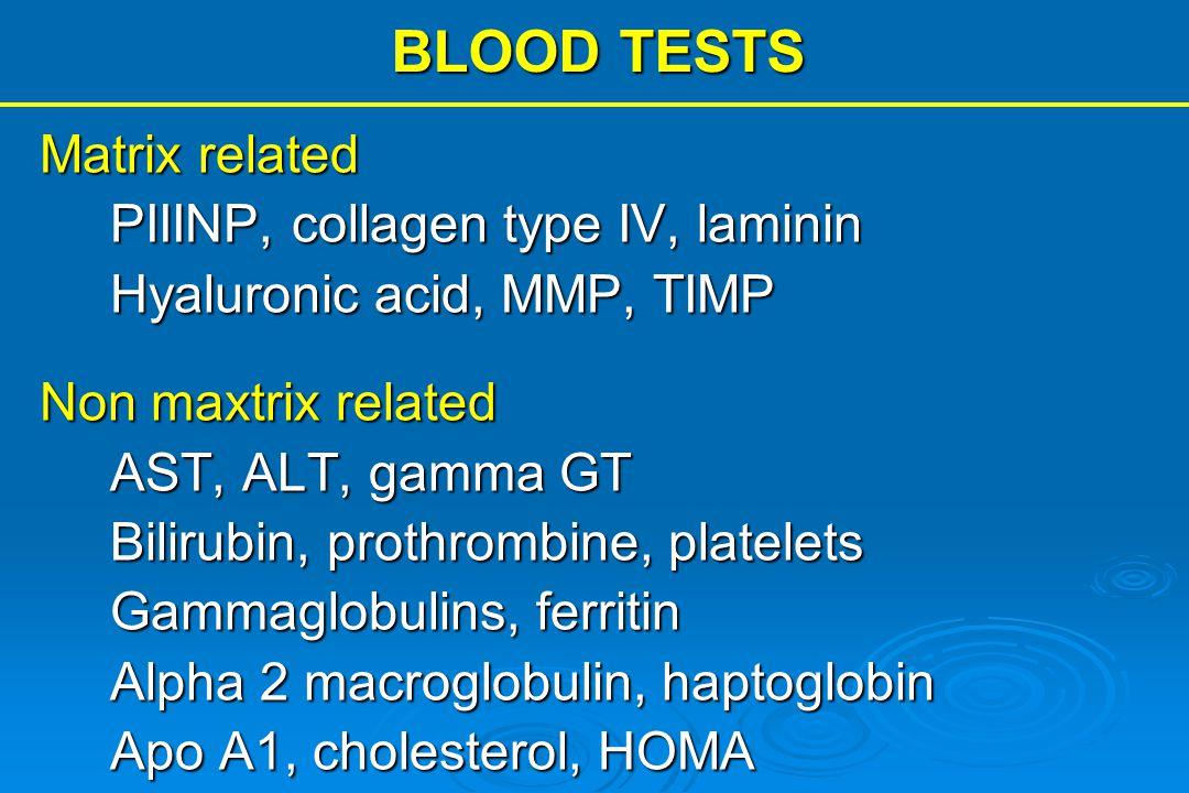 BLOOD TESTS Matrix related PIIINP, collagen type IV, laminin Hyaluronic acid, MMP, TIMP Non maxtrix related AST, ALT, gamma GT Bilirubin, prothrombine