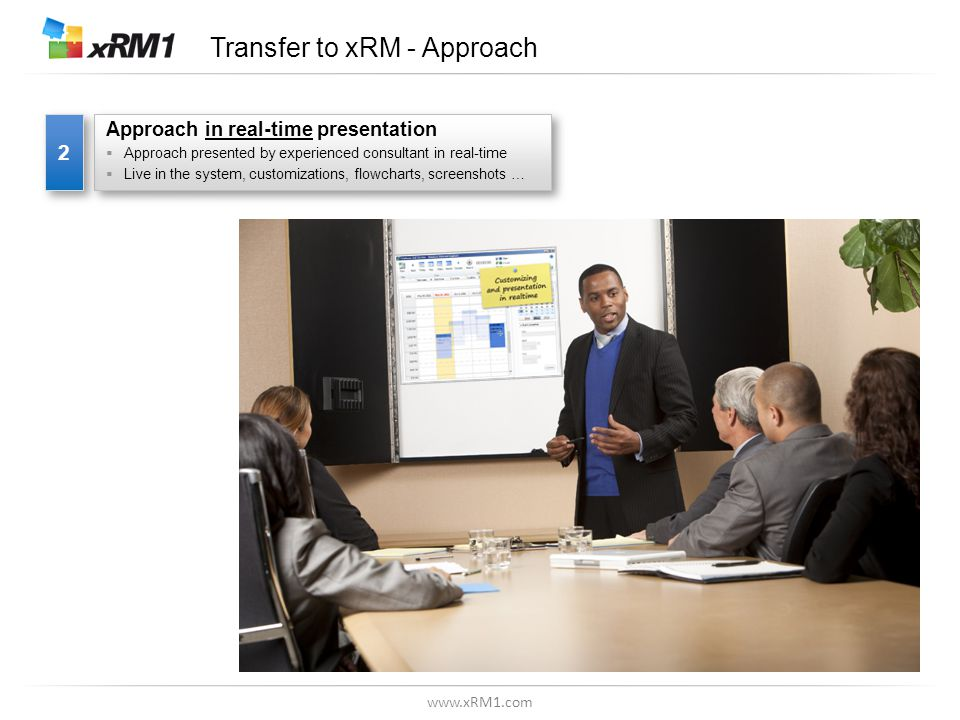 www.xRM1.com Transfer to xRM - Approach Approach in real-time presentation  Approach presented by experienced consultant in real-time  Live in the system, customizations, flowcharts, screenshots … Approach in real-time presentation  Approach presented by experienced consultant in real-time  Live in the system, customizations, flowcharts, screenshots … 2 2