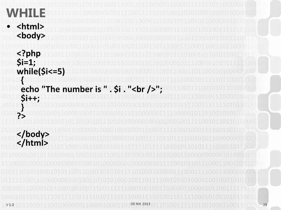 V 1.0 WHILE ; $i++; } > 29 OE NIK 2013