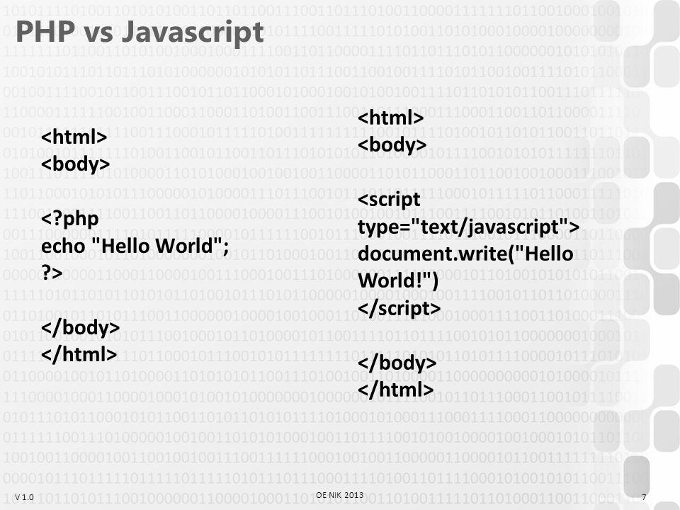 """V 1.0 Variable scope $a = Hello ; $b = World ; function hello() { global $a, $b; echo {$a} {$b} ; } hello(); // """"Hello World 38 OE NIK 2013 $a = Hello ; function hello() { global $b; $b = World ; } echo {$a} {$b} ; // """"Hello World"""
