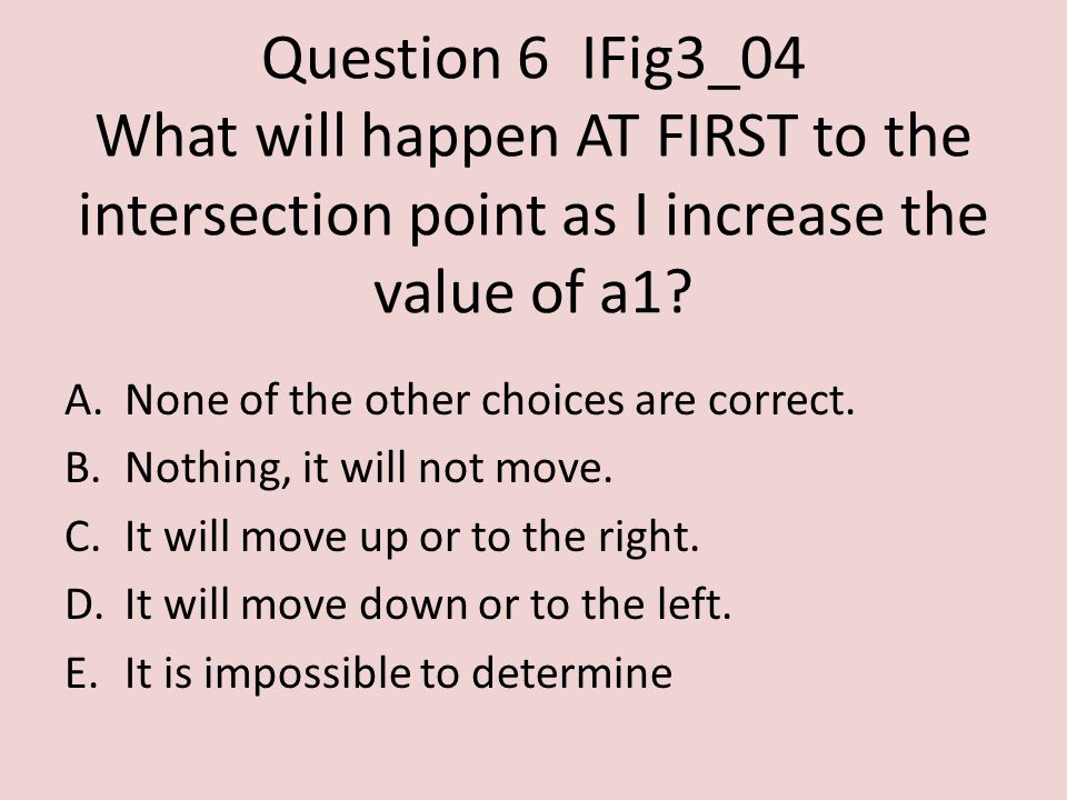 Question 6IFig3_04 What will happen AT FIRST to the intersection point as I increase the value of a1.