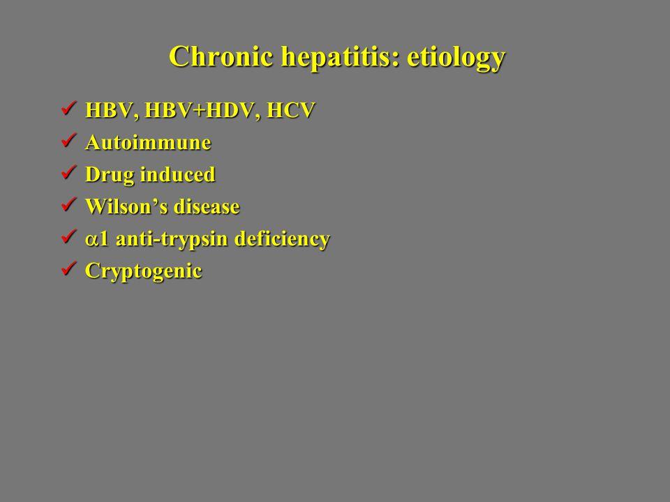Chronic hepatitis: etiology HBV, HBV+HDV, HCV HBV, HBV+HDV, HCV Autoimmune Autoimmune Drug induced Drug induced Wilson's disease Wilson's disease  1