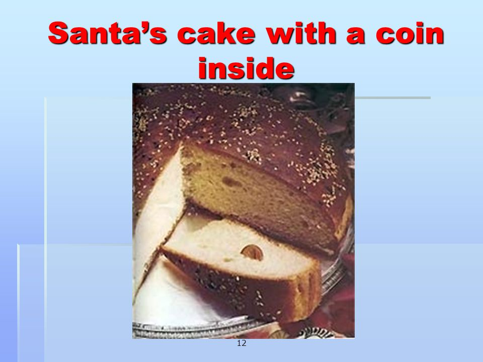 Santa's cake with a coin inside 12
