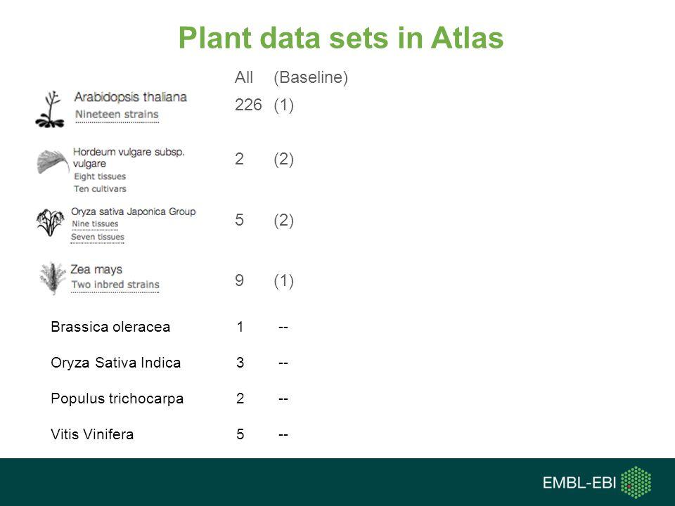 Plant data sets in Atlas 226 (1) 2 (2) All (Baseline) 5 (2) 9 (1) Brassica oleracea 1 -- Oryza Sativa Indica 3 -- Populus trichocarpa 2 -- Vitis Vinifera 5 --