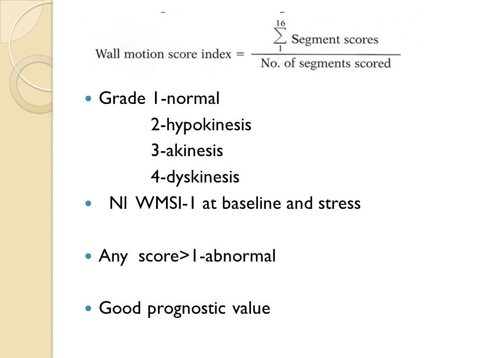 Grade 1-normal 2-hypokinesis 3-akinesis 4-dyskinesis Nl WMSI-1 at baseline and stress Any score>1-abnormal Good prognostic value