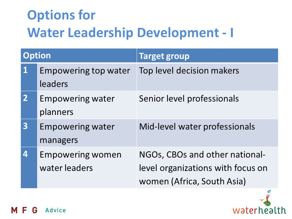 Options for Water Leadership Development- II Option Target group 5 Empowering young community water trainers NGOs, CBOs and other national- level organizations 6 Modules on water and leadership in existing MBA MBA students (could also be MA in e.g.