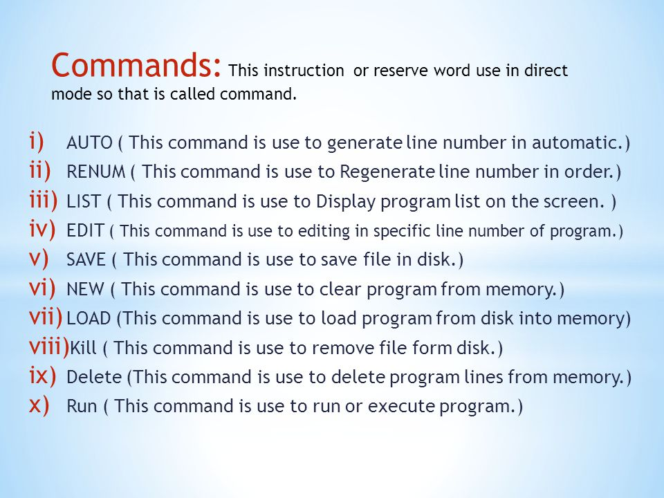 Prepare Basic program to calculate area of rectangle, using INPUT, LET,REM, PRINT and END statements.