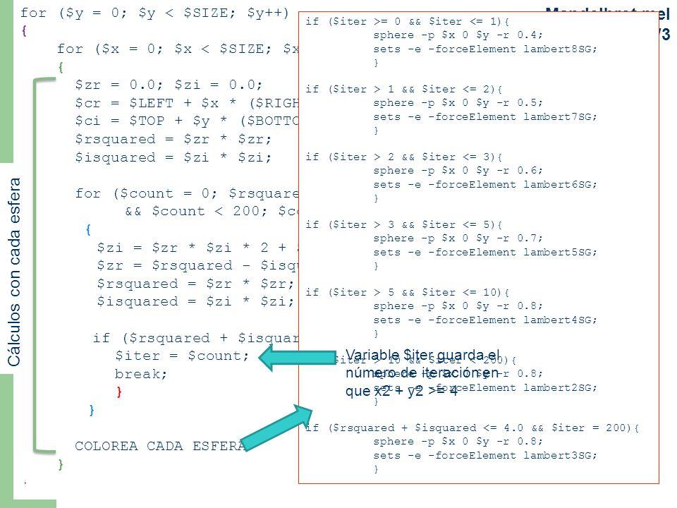 for ($y = 0; $y < $SIZE; $y++) { for ($x = 0; $x < $SIZE; $x++) { $zr = 0.0; $zi = 0.0; $cr = $LEFT + $x * ($RIGHT - $LEFT) / $SIZE; $ci = $TOP + $y * ($BOTTOM - $TOP) / $SIZE; $rsquared = $zr * $zr; $isquared = $zi * $zi; for ($count = 0; $rsquared + $isquared <= 4.0 && $count < 200; $count++) { $zi = $zr * $zi * 2 + $ci; $zr = $rsquared - $isquared + $cr; $rsquared = $zr * $zr; $isquared = $zi * $zi; if ($rsquared + $isquared >= 4.0){ $iter = $count; break; } COLOREA CADA ESFERA } Mandelbrot.mel parte 3/3 11 if ($iter >= 0 && $iter <= 1){ sphere -p $x 0 $y -r 0.4; sets -e -forceElement lambert8SG; } if ($iter > 1 && $iter <= 2){ sphere -p $x 0 $y -r 0.5; sets -e -forceElement lambert7SG; } if ($iter > 2 && $iter <= 3){ sphere -p $x 0 $y -r 0.6; sets -e -forceElement lambert6SG; } if ($iter > 3 && $iter <= 5){ sphere -p $x 0 $y -r 0.7; sets -e -forceElement lambert5SG; } if ($iter > 5 && $iter <= 10){ sphere -p $x 0 $y -r 0.8; sets -e -forceElement lambert4SG; } if ($iter > 10 && $iter < 200){ sphere -p $x 0 $y -r 0.8; sets -e -forceElement lambert2SG; } if ($rsquared + $isquared <= 4.0 && $iter = 200){ sphere -p $x 0 $y -r 0.8; sets -e -forceElement lambert3SG; } Cálculos con cada esfera Variable $iter guarda el número de iteración en que x2 + y2 >= 4