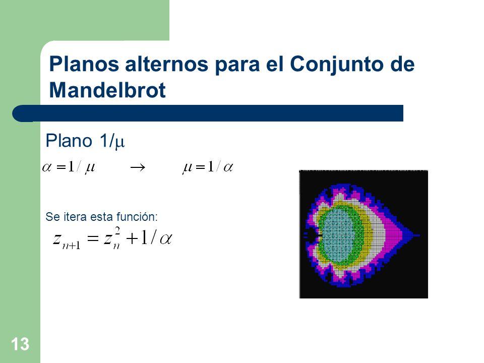 13 Planos alternos para el Conjunto de Mandelbrot Plano 1/  Se itera esta función: