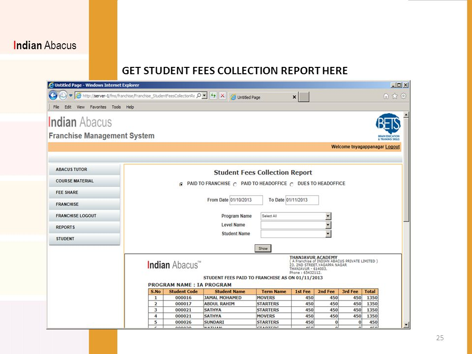 GET STUDENT FEES COLLECTION REPORT HERE Indian Abacus 25