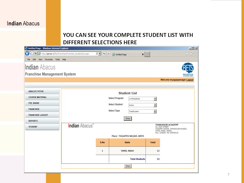 YOU CAN SEE YOUR COMPLETE STUDENT LIST WITH DIFFERENT SELECTIONS HERE Indian Abacus 7