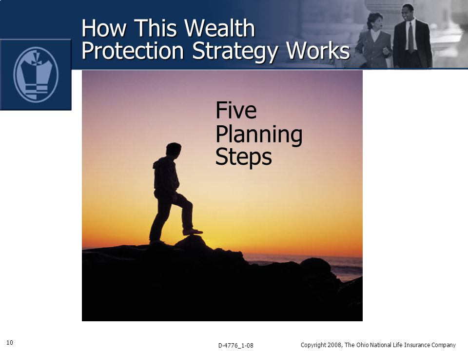 10 D-4776_1-08 Copyright 2008, The Ohio National Life Insurance Company How This Wealth Protection Strategy Works Five Planning Steps