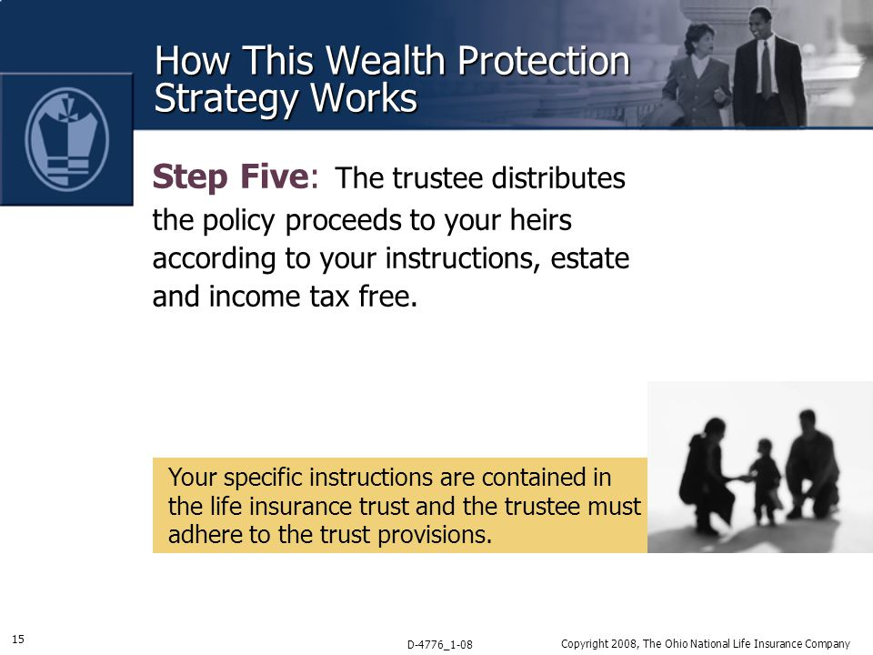 15 D-4776_1-08 Copyright 2008, The Ohio National Life Insurance Company How This Wealth Protection Strategy Works Step Five: The trustee distributes the policy proceeds to your heirs according to your instructions, estate and income tax free.