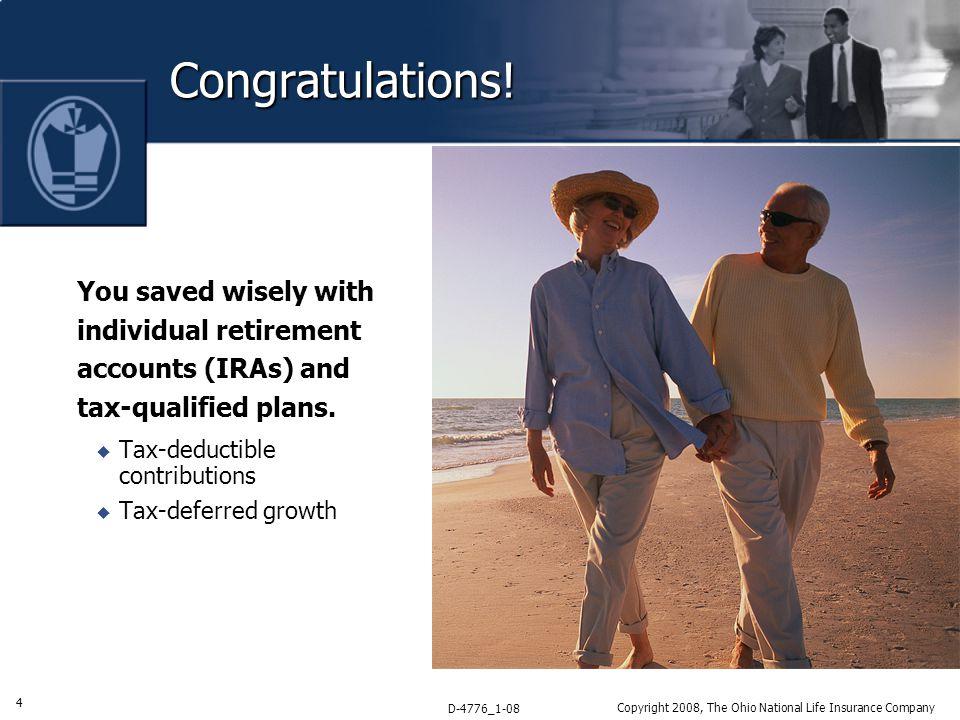 4 D-4776_1-08 Copyright 2008, The Ohio National Life Insurance Company Congratulations.