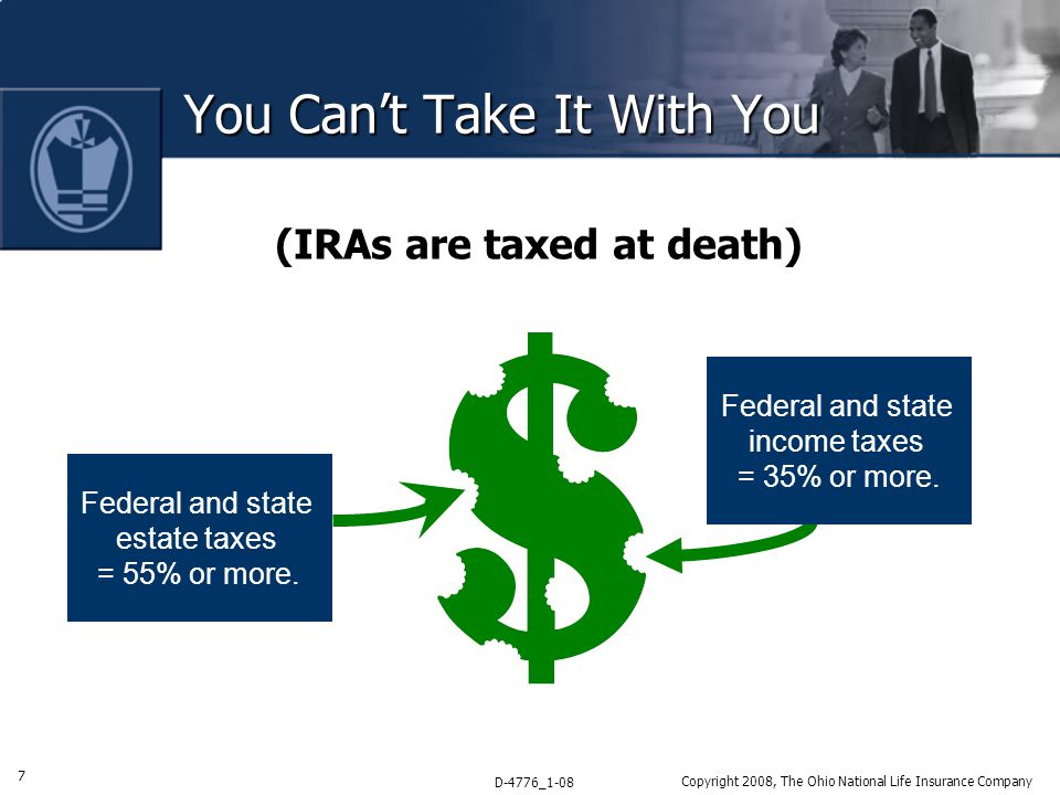 7 D-4776_1-08 Copyright 2008, The Ohio National Life Insurance Company You Can't Take It With You (IRAs are taxed at death) Federal and state income taxes = 35% or more.