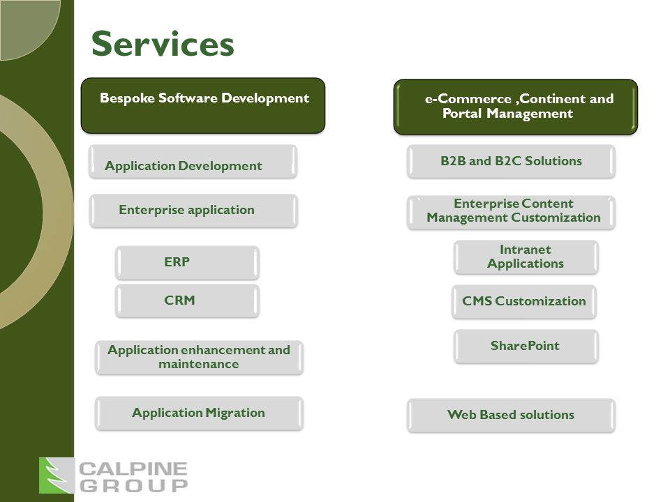 Bespoke Software Development Application Development Enterprise application CRM Application enhancement and maintenance Application Migration e-Commerce,Continent and Portal Management B2B and B2C Solutions Enterprise Content Management Customization Intranet Applications CMS CustomizationSharePoint Web Based solutions ERP Services