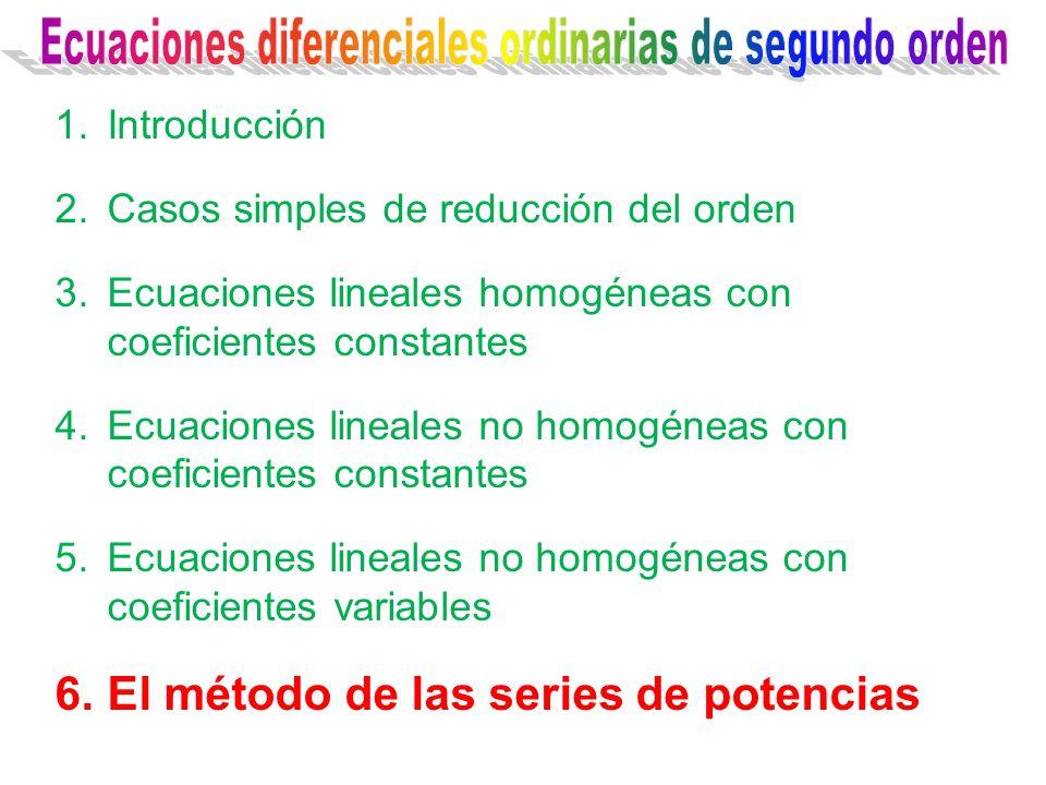 1.Introducción 2.Casos simples de reducción del orden 3.Ecuaciones lineales homogéneas con coeficientes constantes 4.Ecuaciones lineales no homogéneas con coeficientes constantes 5.Ecuaciones lineales no homogéneas con coeficientes variables 6.El método de las series de potencias