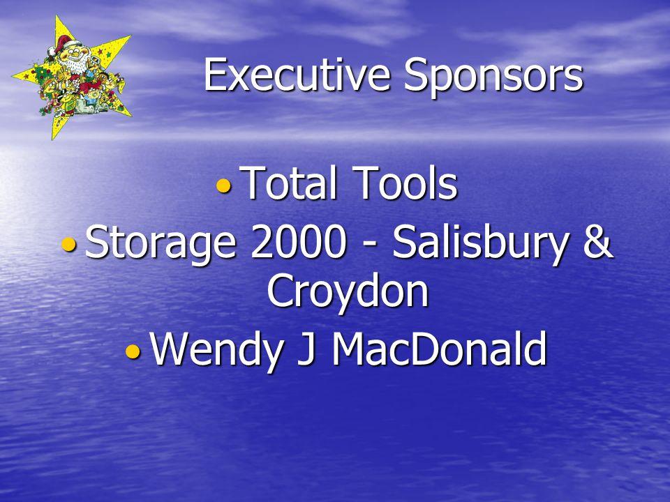 Executive Sponsors Total Tools Total Tools Storage 2000 - Salisbury & Croydon Storage 2000 - Salisbury & Croydon Wendy J MacDonald Wendy J MacDonald
