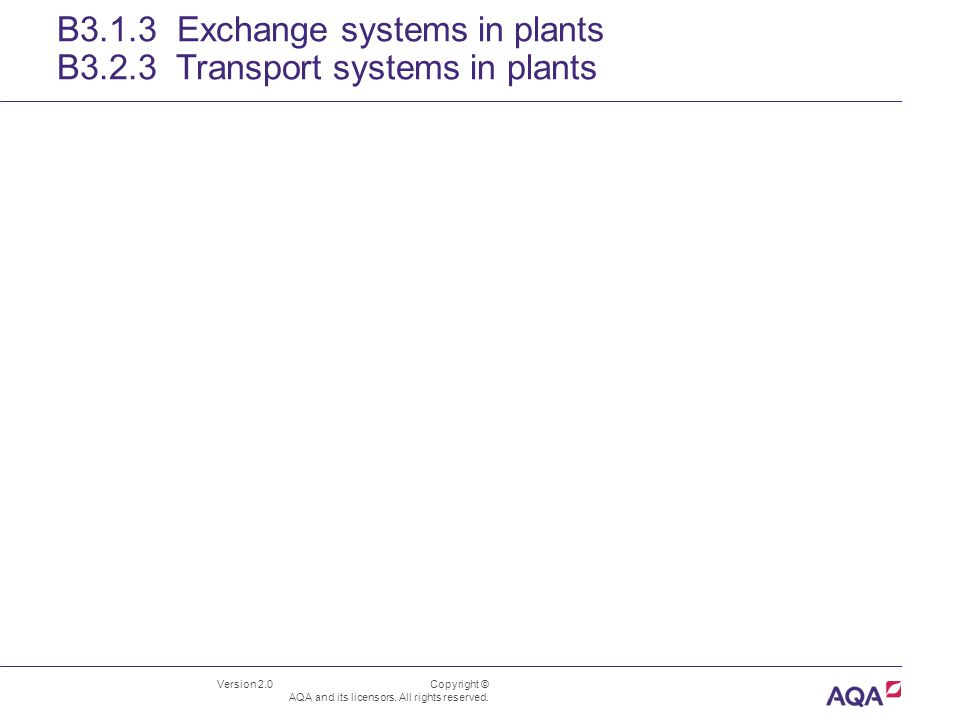 Version 2.0 Copyright © AQA and its licensors. All rights reserved. B3.1.3 Exchange systems in plants B3.2.3 Transport systems in plants