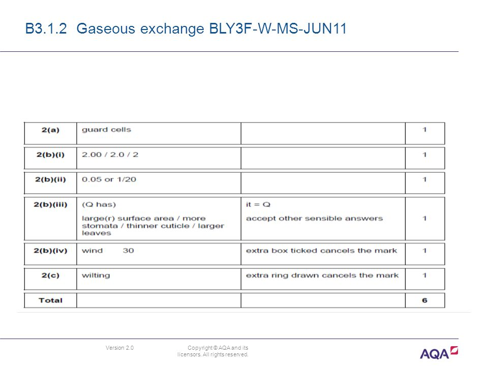 Version 2.0 Copyright © AQA and its licensors. All rights reserved. B3.1.2 Gaseous exchange BLY3F-W-MS-JUN11