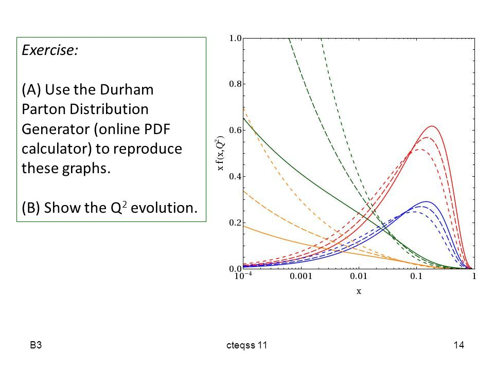 B3cteqss 1114 Exercise: (A) Use the Durham Parton Distribution Generator (online PDF calculator) to reproduce these graphs.