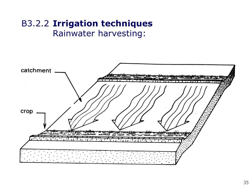 35 B3.2.2Irrigation techniques Rainwater harvesting: