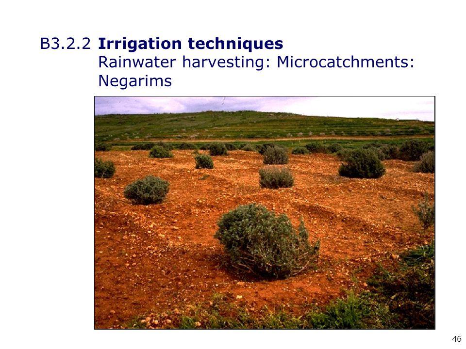 46 B3.2.2Irrigation techniques Rainwater harvesting: Microcatchments: Negarims