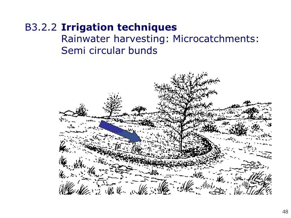 48 B3.2.2Irrigation techniques Rainwater harvesting: Microcatchments: Semi circular bunds