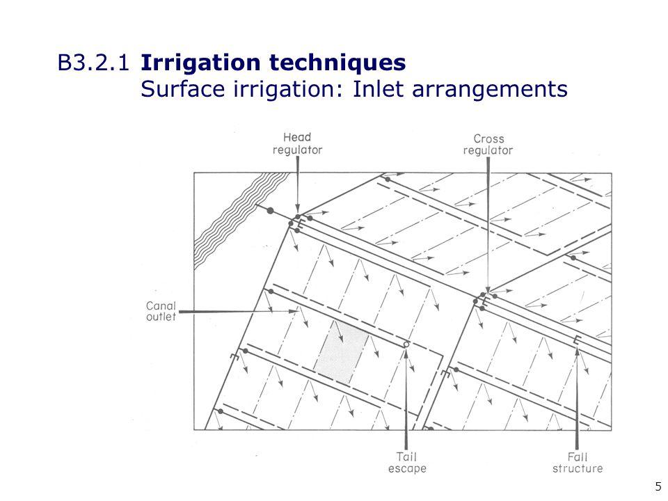 5 B3.2.1Irrigation techniques Surface irrigation: Inlet arrangements