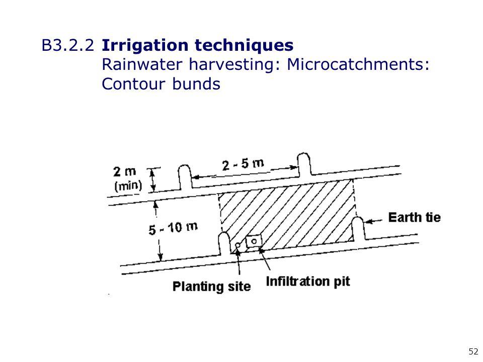 52 B3.2.2Irrigation techniques Rainwater harvesting: Microcatchments: Contour bunds