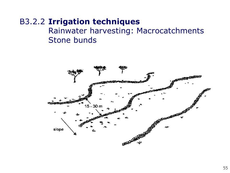 55 B3.2.2Irrigation techniques Rainwater harvesting: Macrocatchments Stone bunds