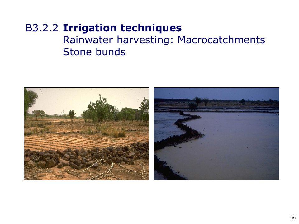 56 B3.2.2Irrigation techniques Rainwater harvesting: Macrocatchments Stone bunds