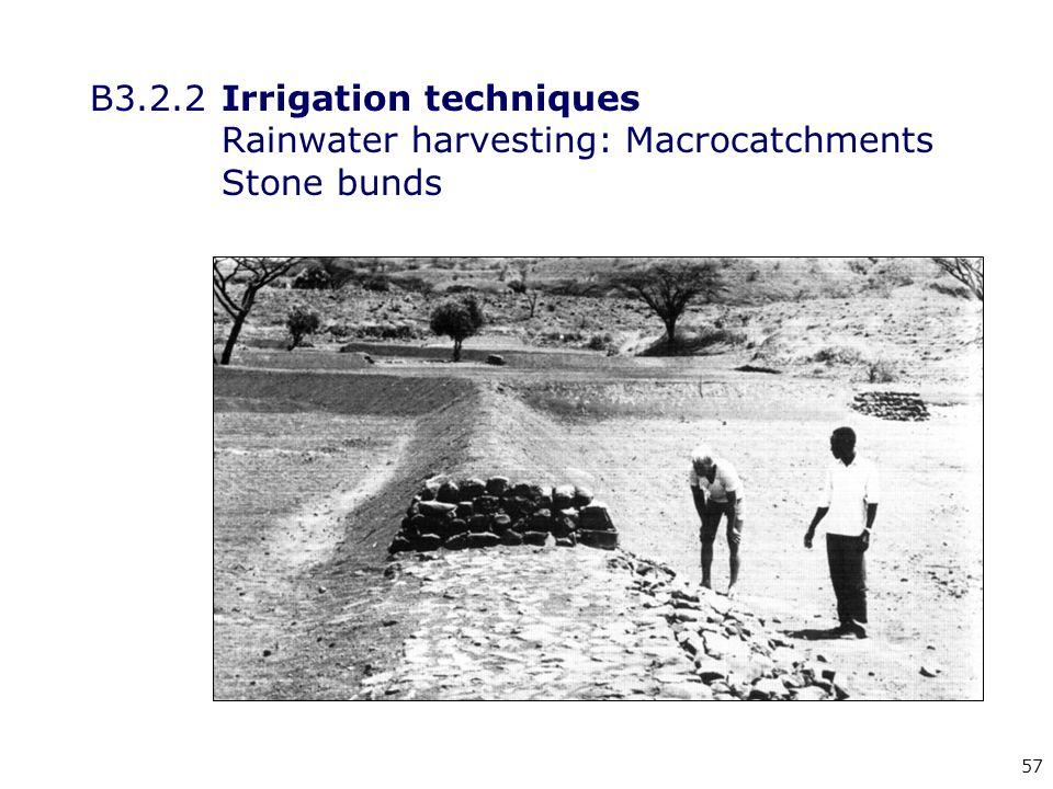 57 B3.2.2Irrigation techniques Rainwater harvesting: Macrocatchments Stone bunds