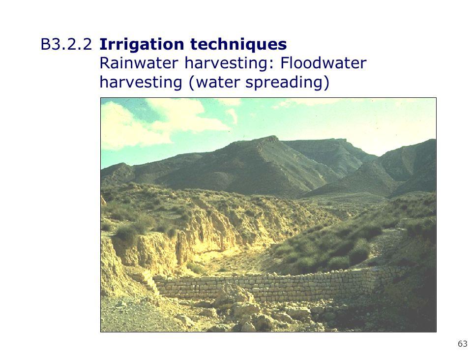 63 B3.2.2Irrigation techniques Rainwater harvesting: Floodwater harvesting (water spreading)
