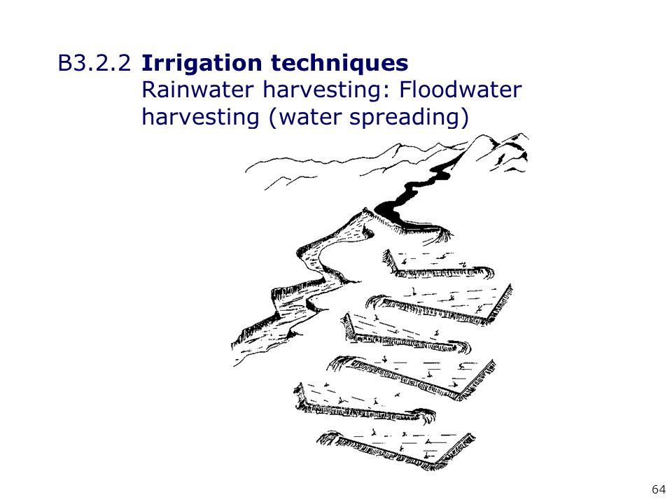 64 B3.2.2Irrigation techniques Rainwater harvesting: Floodwater harvesting (water spreading)