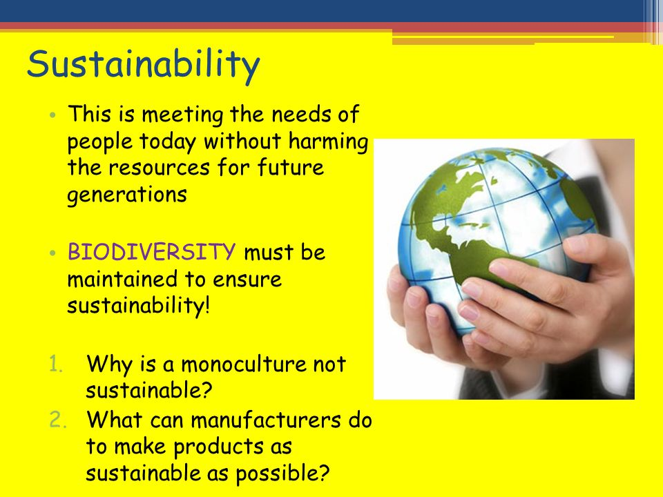 Sustainability This is meeting the needs of people today without harming the resources for future generations BIODIVERSITY must be maintained to ensur