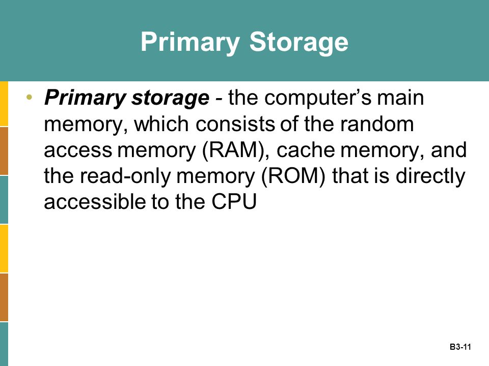 B3-11 Primary Storage Primary storage - the computer's main memory, which consists of the random access memory (RAM), cache memory, and the read-only memory (ROM) that is directly accessible to the CPU